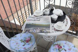 Tea on the bedroom balcony